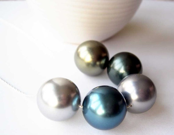 Chunky Pearl Necklace - Wedding, Statement Jewelry, Bridal Jewellery, Sterling Silver, Blue, Gray, Gray, Bronze