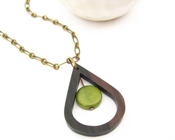 Wood Necklace - Geometric Jewelry, Mod Jewellery, Olive Green Tagua Nut, Pendant, Antiqued Brass, Teardrop