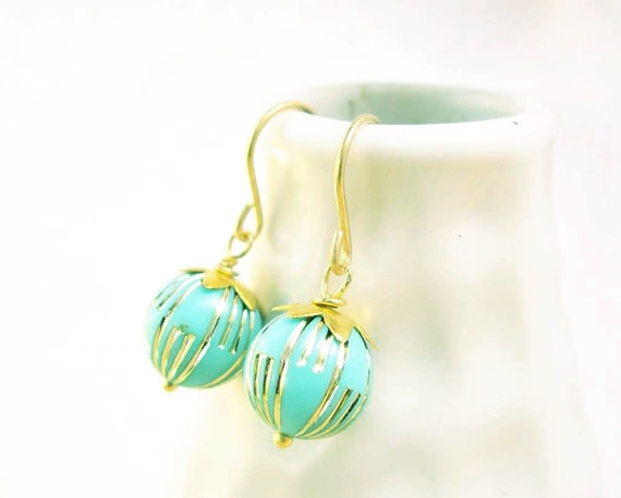 Drop Earrings, Vintage Beads, Turquoise Blue, Gold, Retro, Space Age, Atomic Era, Mid Century Earrings