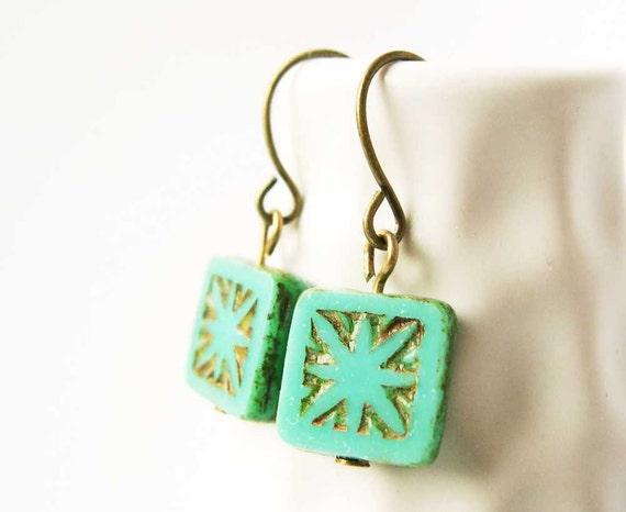 Turquoise Earrings - Czech Glass Jewelry, Antiqued Brass, Dangle, Drop, Geometric Jewellery, Earthy, Weathered, Rustic