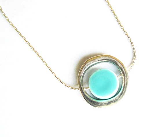 Simple Minimalist Necklace - Silver, Robin's Egg Blue Porcelain, Aqua, Turquoise, Ceramic, Mod Jewelry, Geometric Accessory