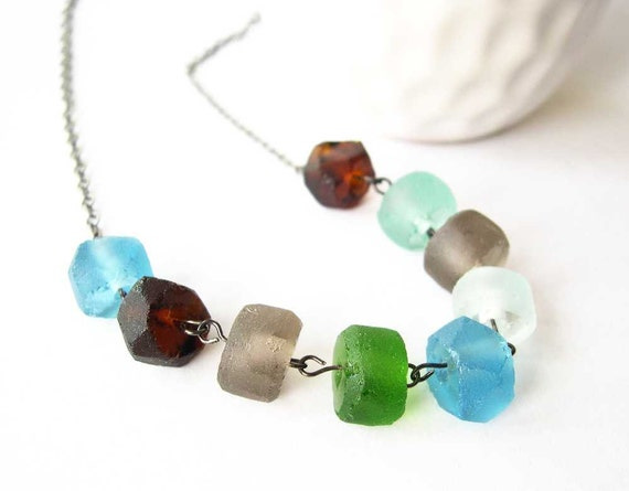 Recycled Glass Necklace - Beaded Jewelry, Green, Brown, Fawn, Blue, Aqua, Earthy Jewellery, Modern, Eco Friendly