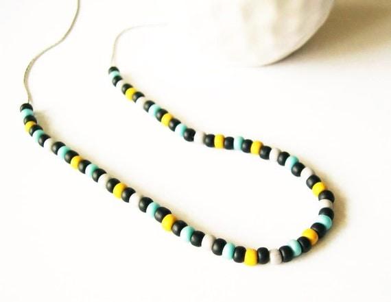 Seed Bead Jewelry - Beaded Necklace, Black, Light Blue, Mustard Yellow, Gray, Grey, Czech Glass, Modern Jewellery