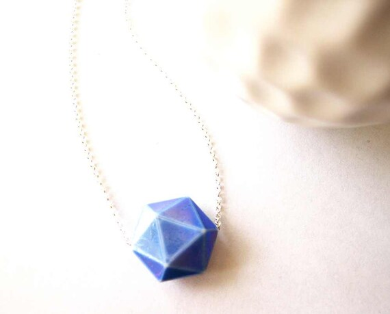 Geometric Necklace - Vintage Bead, Triangle, Sterling Silver, Nickel Free Jewelry, Simple, Blue Jewellery