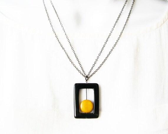 Black Onyx Jewelry - Geometric Necklace, Modern Stone Jewellery, Mustard Yellow Tagua Nut, Contemporary