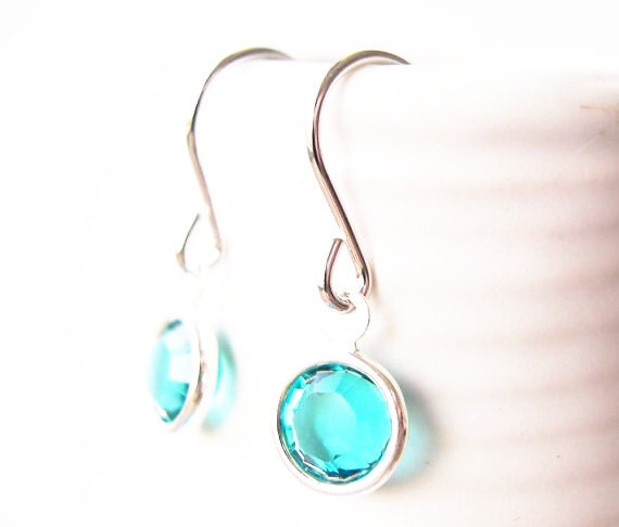 Turquoise Blue Earrings - Simple Jewelry, Crystal, Drop, Dangle, Modern Jewellery, Glass, Small