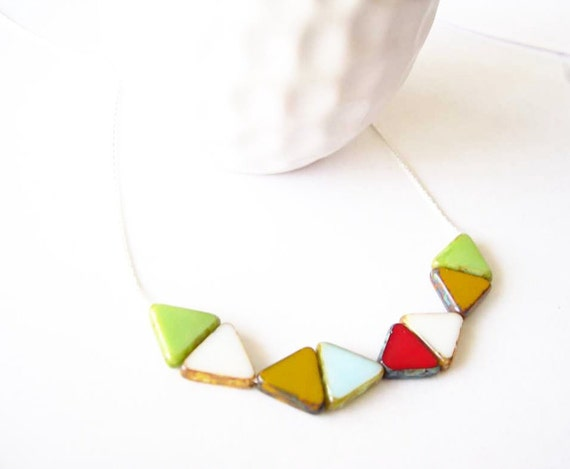 Geometric Necklace - Triangle Jewelry, Sterling Silver Necklace, Contemporary, Czech Glass, Green, White, Yellow, Red, Blue Jewellery