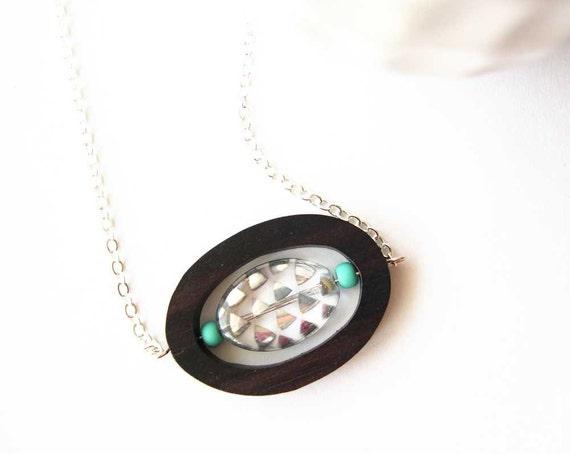 Funky Jewelry, Wood Necklace, Anniversary Gift, Geometric, Triangle Jewellery, Czech Glass, Silver, Mod, Modern, Boho