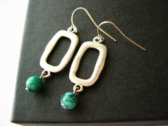 Silver Dangle Earrings, Stone Jewelry, Jasper, Turquoise, Aqua, Blue, Teal, Modern Jewellery, Drop
