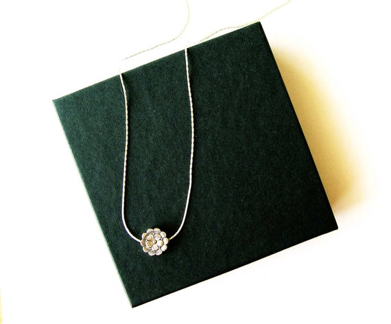 Simple Silver Necklace, Bridesmaids Jewelry, , Flower, Metal, Contemporary, Modern, Floral