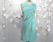 Nancy - Blue and Yellow Vintage Zip Up Day Dress