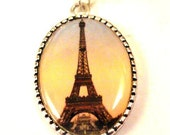 Paris Necklace Eiffel Tower Necklace Paris Pendant Necklace Photo Art Necklace Paris Jewelry - pink80sgirl