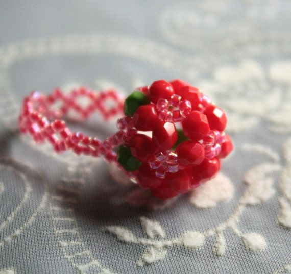 On Sale - Cherry Red Beaded Bubble Cocktail Ring