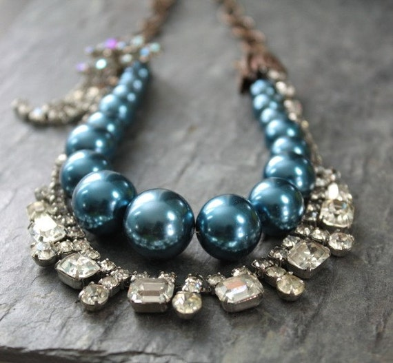 Reserved for Rachel - Royal Blue Pearl and Vintage Rhinestone Multistrand Necklace with Matching Earrings