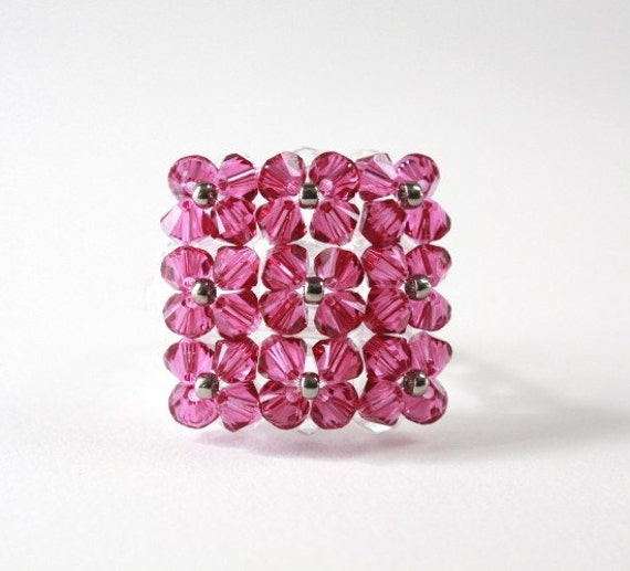 Blingy Crystal Square Cocktail Ring with Magenta Swarovski Crystals