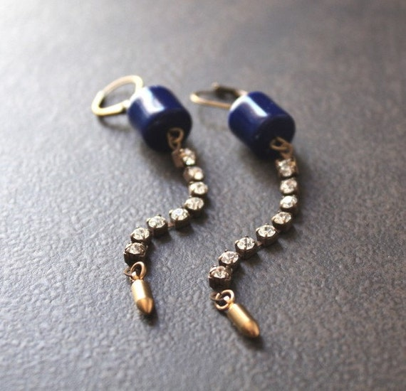Reserved for Monica - Urban Chic Navy Blue Barrel Earrings with Rhinestone Chain