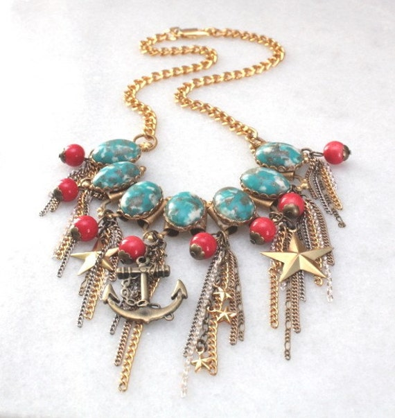 Turquoise and Coral Shabby Chic Nautical Necklace with Vintage Chain Dangles