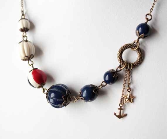 Red White and Blue Asymmetric Nautical Necklace with Anchor and Star Charms