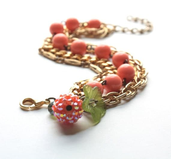 Peachy Lucite Bracelet with Vintage Gold Chains and Crystal Charms