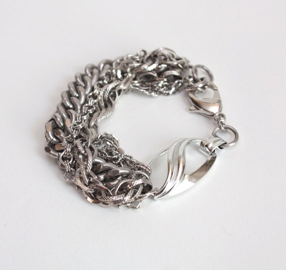 Silver Multistrand Bracelet with Vintage Chains, Heavy Stainless Steel Curb Chain and Vintage Oval Linker