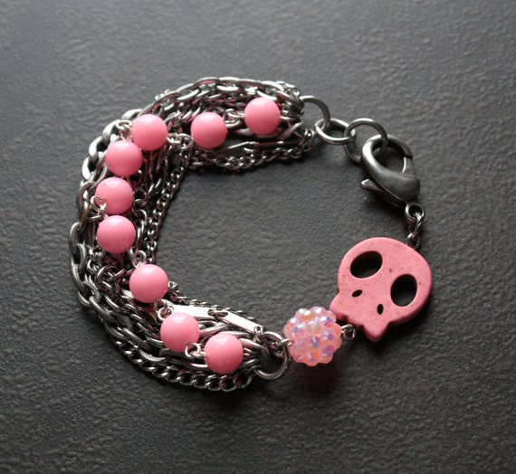 Pink Skull Bracelet with Vintage Silver Chains and Lucite Beads