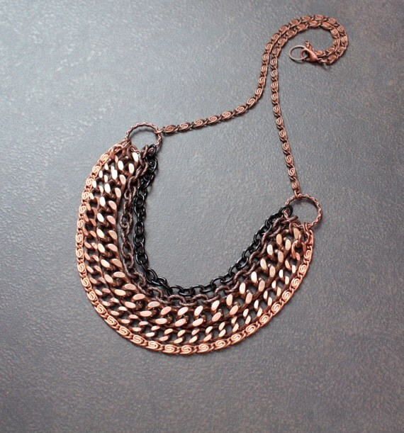 Copper Ombre Multistrand Necklace with Chunky Mixed Metal Chains