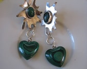 Green Stars float above my heart  -  Hand Forged Metal Earrings Belle Amoire