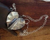 Fluttering Silver 2  Hearts Handforged by Trish Vernazza
