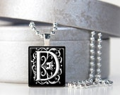Black and white alphabet letter initial scrabble tile pendant necklace with shiny bright silver platted ball chain  - MADE TO ORDER