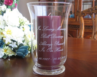 Memorial Candle holder, Personalized, Engraved