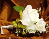White Rose Boutonniere with Hypericum Trim
