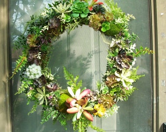 Artificial Succulent 18 in Wreath, Faux Succulent Wreath