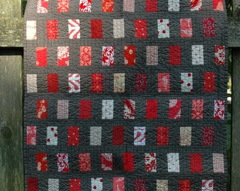 Gray and Red Baby Quilt