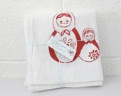 Kitchen Towels Red Matryoshka Russian Dolls Set of 2 Hand Printed