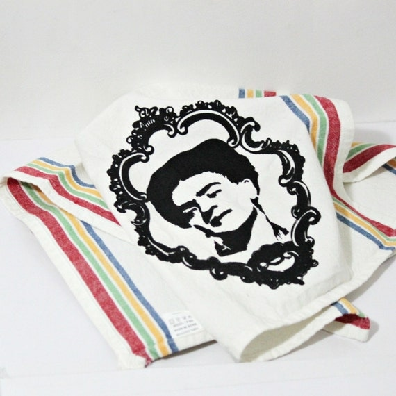 Frida Kahlo Vintage Inspired cotton Kitchen Tea towel multi stripped Screen printed