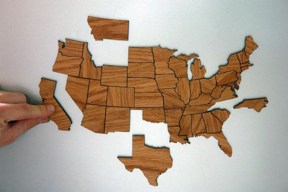 United States Magnetic Geography Puzzle - Oak