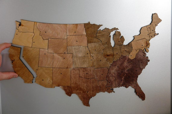 USA Regional Magnetic Geography Puzzle - Stained Plywood