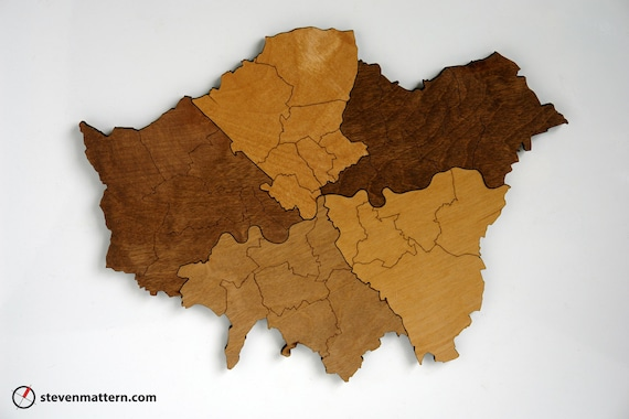 Boroughs of London Map Puzzle - Stained Birch Plywood