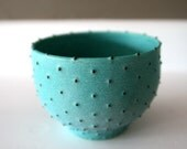 """Stoneware Bowl with Dots / Wheel-Thrown Ceramic / Turquoise Verdigris Matte Glaze with Hand Applied Spotted Dots / """"GUANÁBANA B"""""""