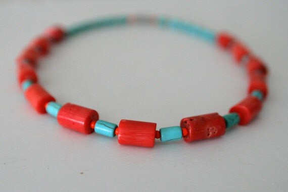 """Coral and Turquoise Howlite Beaded Necklace - Pinkish Red and Bright Turquoise Blue Semi-Precious Stones / """"NICOBAR"""""""