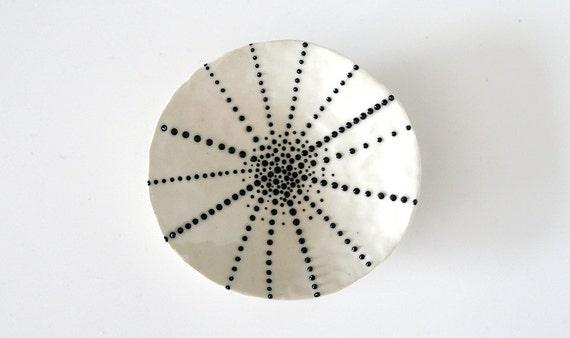 "Handmade, Ceramic Stoneware Dish with Black and White Dots / Small and Decorative / Cosmic Tortilla 05 ""SEA CREATURE"""