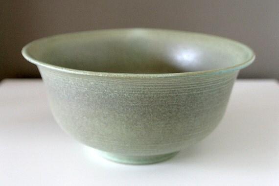 """Large, Elegant Pistachio and Grey Art Bowl / Wheel-Thrown Stoneware / """"KASKA"""""""