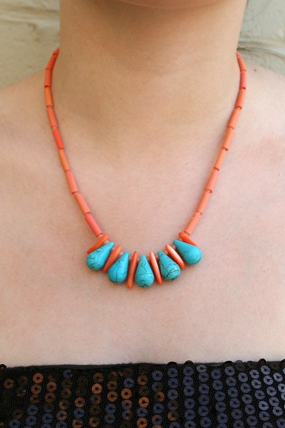 "Coral and Turquoise Necklace / Semi-Precious Stones, Pink Shell, Turquoise Blue Howlite Teardrops  / ""IBIS"""