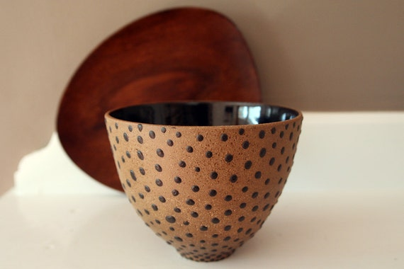 "Reserved for MK: Stoneware Bowl / Rustic Toasty Brown with Black Dots and Glossy black interior / ""SPOT DOT"""