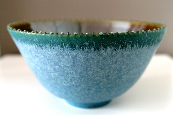 "Large, Unusual Stoneware Art Bowl in Turquoise, Green and Shining Caramelized Silver / Wheel Thrown / ""MAGNETITE"""