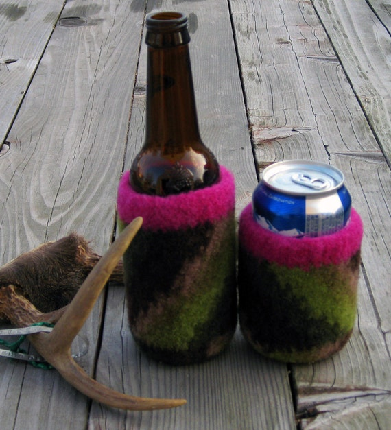 Camo and Pink Felted Can Cozie, Handmade by The Land of G on Etsy