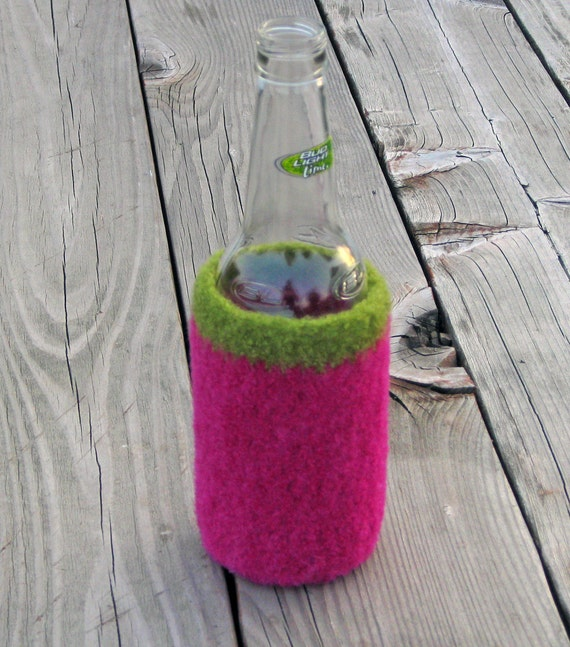Magenta and Olive Green Felted Wool Bottle Cozy, Ready to Ship, Handmade by The Land of G on Etsy