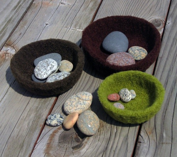 Colors of the Earth, Felted Wool Stacking Bowls, Handmade by The Land of G on Etsy