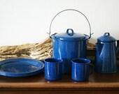 SALE - Vintage Enamel Camping Cookware Set