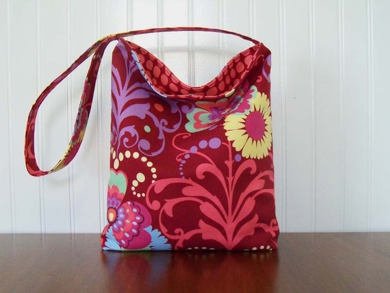 Slouch Purse - Amy Butler Paradise Garden - Fabric Slouch Purse - Fabric Purse - Paradise Garden in Wine - Slouch Bag - Floral Fabric Purse